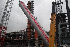 金澳科技(湖北)100万吨/年焦化加氢项目 图1(360吨加氢反应器吊装)